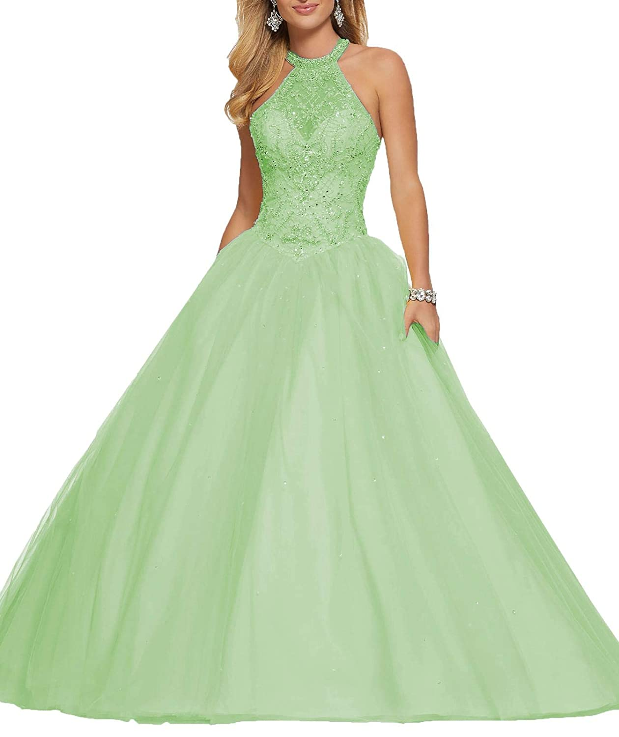 Green 1 Wanshaqin Women's High Neck Lace Prom Ball Gowns with Beading Appliques Quinceanera Dresses Tulle