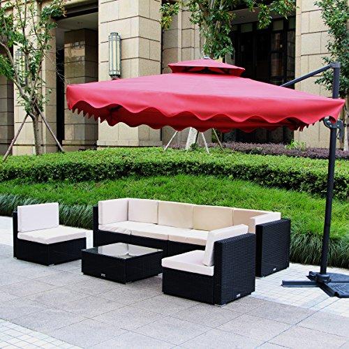 U-MAX 7 Piece 7-12 Pieces Patio PE Rattan Wicker Sofa Sectional Furniture Set (7 Pieces, Black) by U-MAX (Image #1)