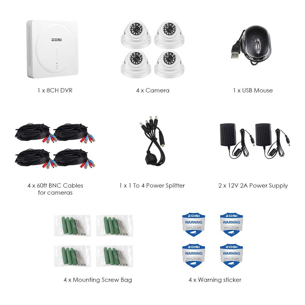 ZOSI 5MP CCTV Kit de Sistema de Seguridad 4CH Grabador DVR + C/ámara de Vigilancia Exterior Detecci/ón de Movimiento 1TB Disco Duro Acceso Remoto 4