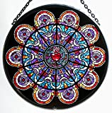 Decorative Hand Painted Stained Glass Window Sun Catcher/Roundel in a Sacre Couer 'Coeur' Design