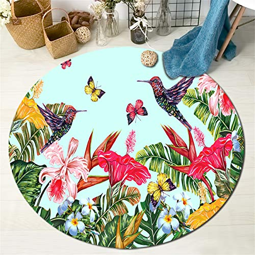 HVEST Spring Scenery Area Rug Bird and Butterfly Round Rugs Tropical Flowers and Palm Leaves Carpet Non-Slip Soft Yoga Kid's Play Pet Floor Mat for Bedroom Living Room,(Diameter:3'3