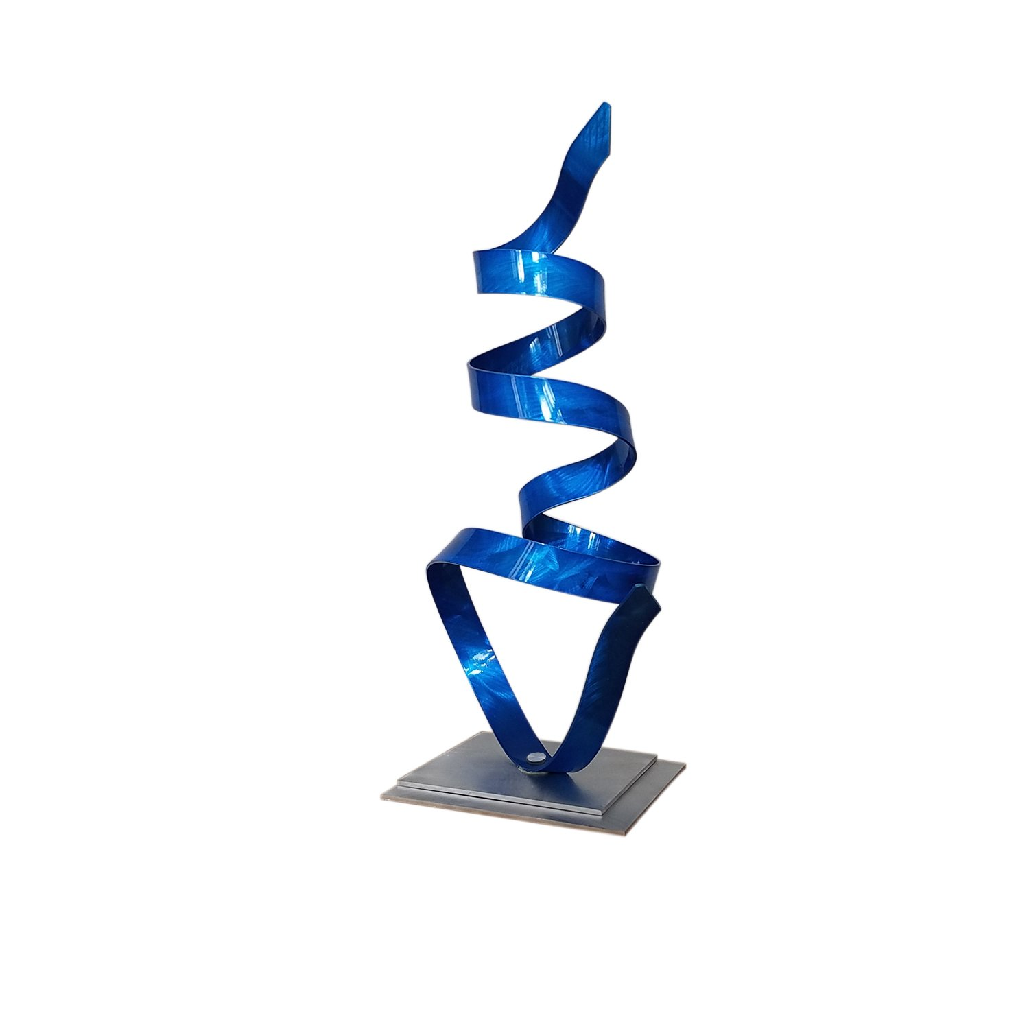 Statements2000 Blue Contemporary Centerpiece, Modern Table Decor, Abstract Metal Art - Kitchen, Office, Mantel, Coffee Table Decor - Blue Whisper Accent by Jon Allen - 18.5""