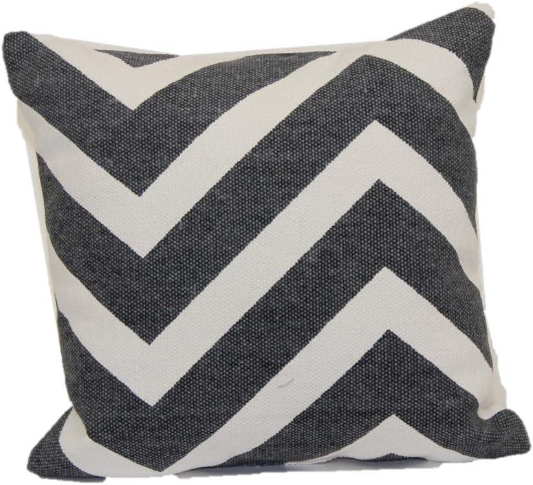 Brentwood 9710 Cotton Chindi Toss Pillow, 18-Inch, Black Zig Zag