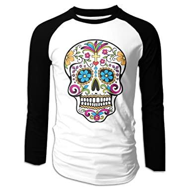 8cee5edae4c Amazon.com  LOYRA Men s Custom Long Sleeve Raglan Sugar Skull Tshirt ...