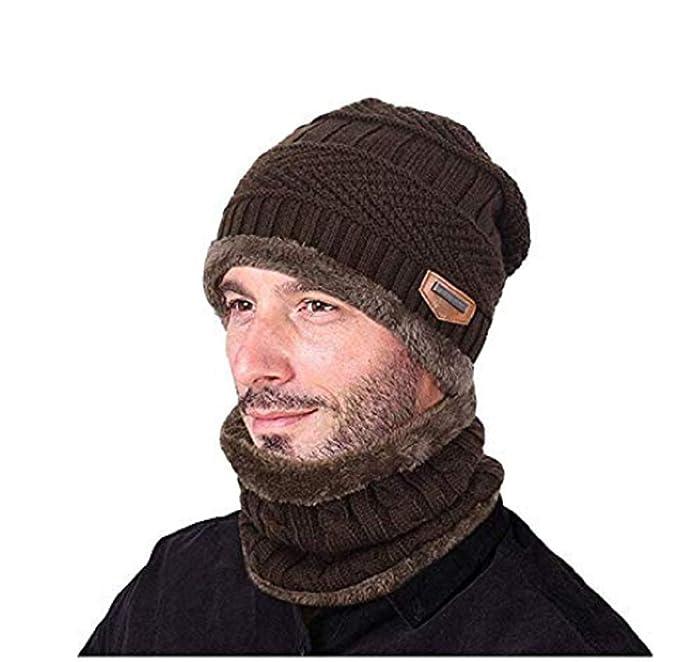 UMIPUBO Cappello Uomo Invernale Berretto Uomo in Maglia con Sciarpa (Kaki) 291540864c95