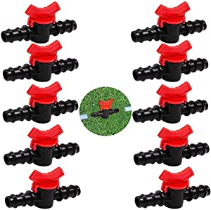 10 Pcs Drip Irrigation Switch Valve, Gate Valve Double Male Barbed Drip Irrigation Tubing, Coupling Hose Connectors for 0.63 Inch Barbed Agricultura Garden Valve