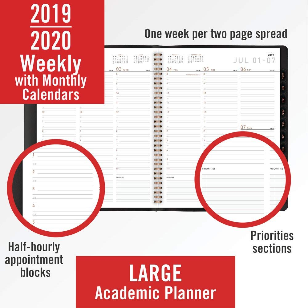 AT-A-GLANCE 70957X0520 2019-2020 Academic Year Weekly & Monthly Planner/Appointment Book, Large, 8-1/4'' x 11'', Contempo, Black (70957X05) by AT-A-GLANCE (Image #2)
