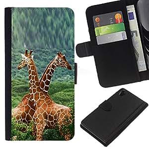 LECELL--Cuero de la tarjeta la carpeta del tirón Smartphone Slots Protección Holder For Sony Xperia Z2 D6502 -- Doble Jirafas --