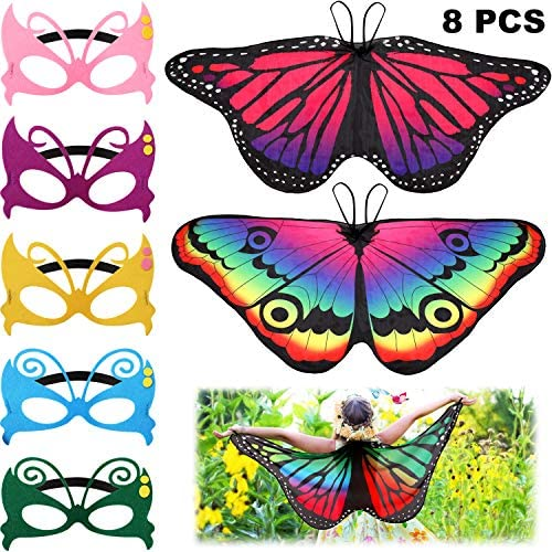 8 Pieces Kids Butterfly Costume Fairy Butterfly Wings Masquerade Masks for Boys Girls Dress Up Pretend Play Party Favors (Style 1)