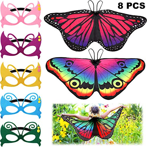 8 Pieces Kids Butterfly Costume Fairy Butterfly Wings Masquerade Masks for Boys Girls Dress Up Pretend Play Party Favors]()