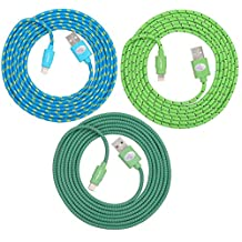 Premium Fabric Braided Lightning USB Sync Cable Cord Charger for Apple iPhone 6 / 6 Plus, iPhone 5 / 5S / 5C, iPod Nano 7, iPod Touch 5, iPad 4, iPad with Retina Display and the iPad Mini- FIT FOR ALL CASES (Green - Teal - Blue)