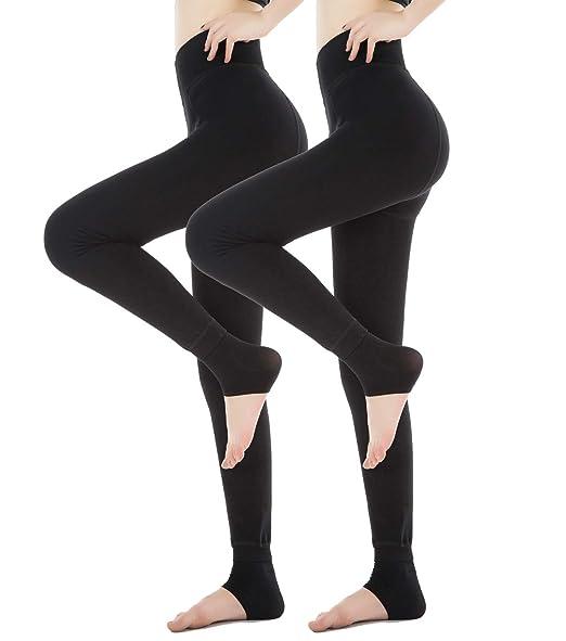 3145548b12cd Diravo 2 Pack Womens Fleece Lined Leggings,Winter Warm-Thick Velvet Leggings ,Elastic