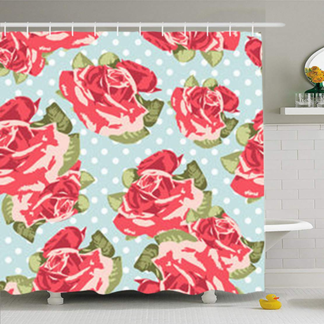 Alfredon Shower Curtains for Bathroom 66 x 72 Inches Bloom Rose Pattern Blue Polka Style Vintage Pink Flower English Roses Floral Romantic Garden Waterproof Fabric Home Decor Set with Hooks
