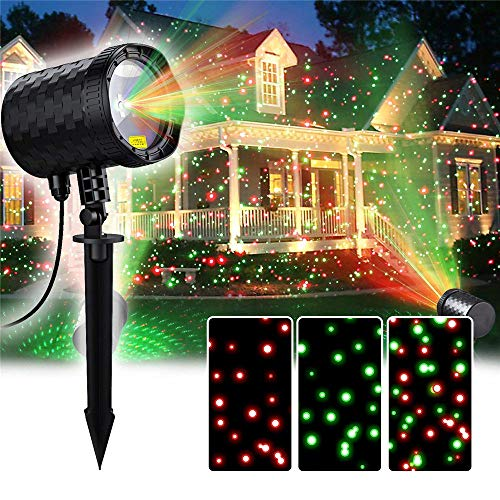 Laser Christmas Light Projector,Thousands of Red &Green Starry Dots Motion Laser Light with Build-in Automatic Timer for Indoor&Outdoor Halloween,Thanksgiving,Christmas Decoration ()