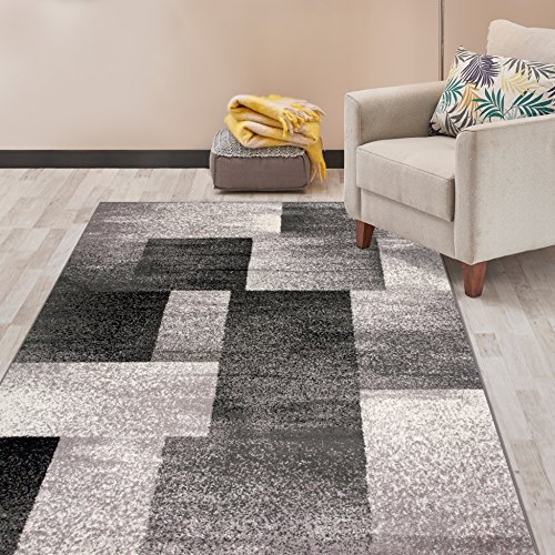 Rugshop 956Gray5x7 Distressed Boxes Area Rugs, 5' x 7', Gray