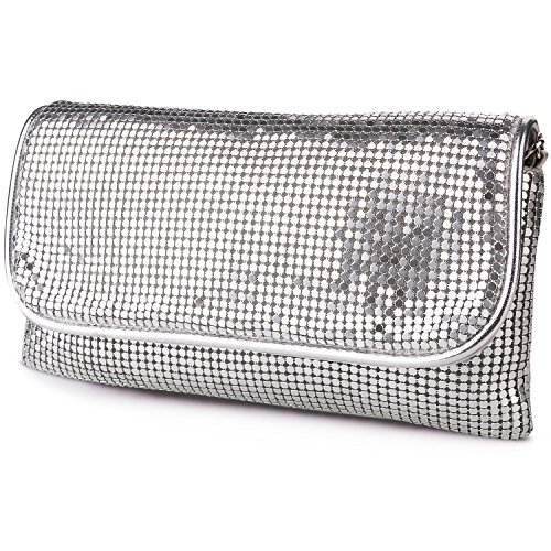 expouch Women's Bling Clutch Handbag Aluminum Metal Mesh Evening Bag Cocktail Party Wedding