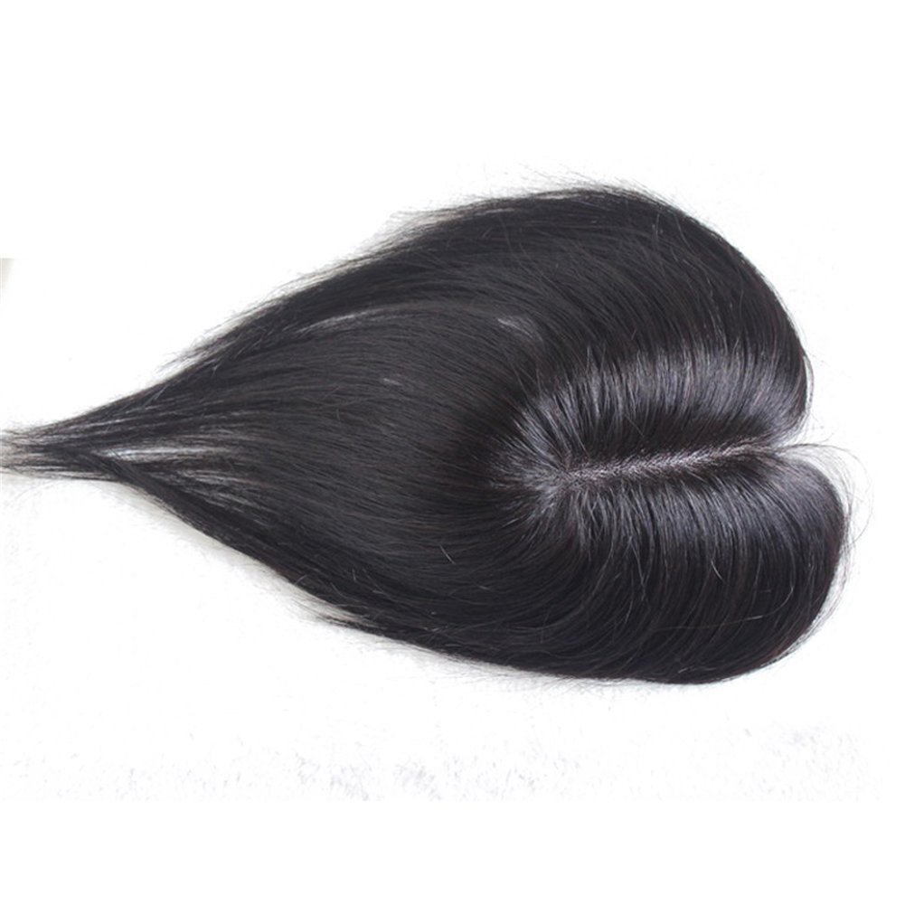 Remeehi Clip In Mono Hair Toppers Human Hair Top Bangs Extensions Hand Made Top Piece Closure Toupee 50cm Nature Black