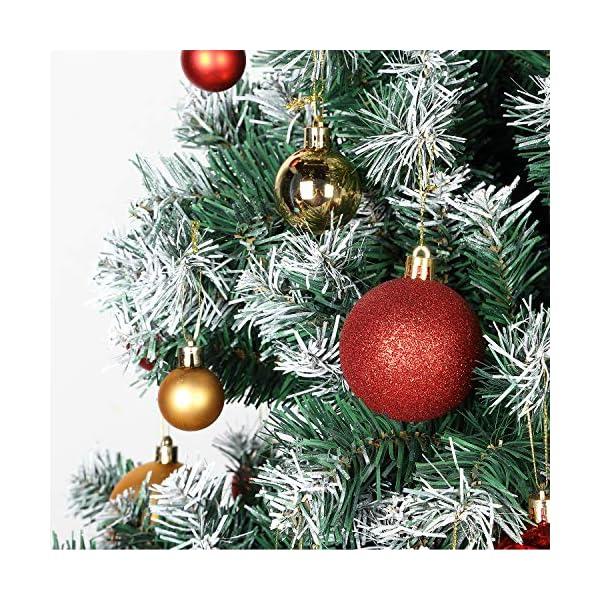 Kranich 32 Palla Rossa per Albero di Natale, infrangibile, Molto Adatta per Decorazioni Natalizie, Decorazioni sospese, Feste, Matrimoni, Feste (5 Finiture, 60mm) 3 spesavip