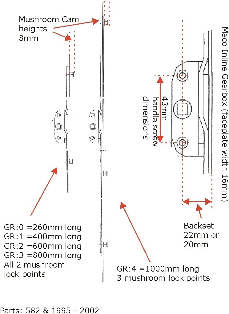Maco Inline Verrouillage Fenêtre espagnolette 20 mm Backset 7.7 mm champignon CAMS 800 mm