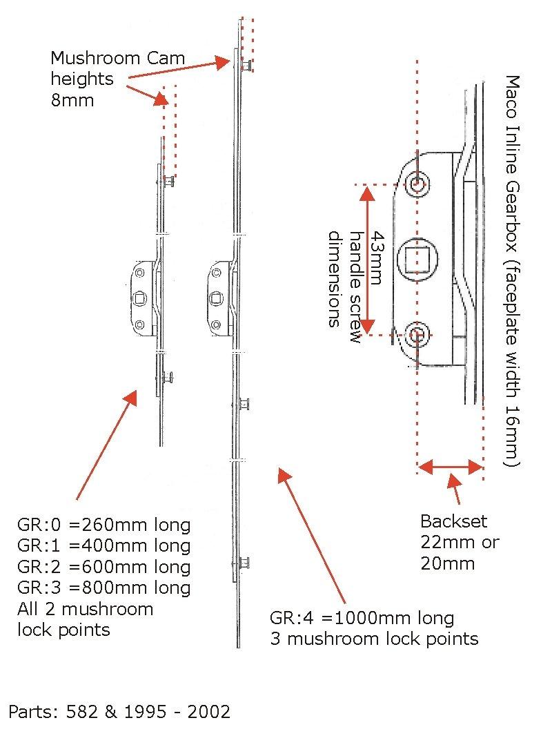 20mm Backset 8mm Cam Maco Inline Window Lock Rod GR2 600mm
