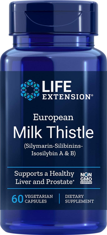 Life Extension Europeo de Cardo Mariano, La Silimarina-Silibinins-Isosilybin A y B - 60 Vcaps 80 g