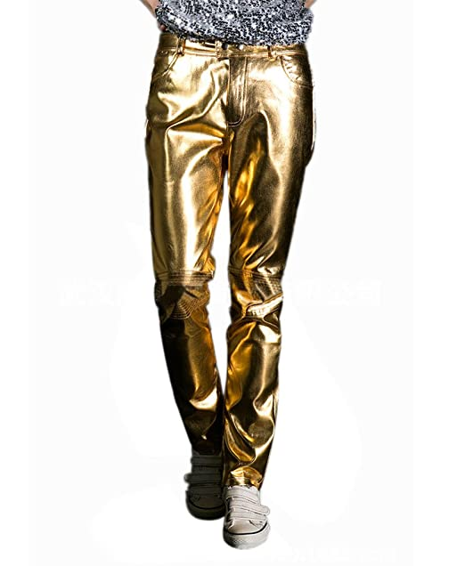Men's Vintage Pants, Trousers, Jeans, Overalls CIC Collection Mens Metallic Shiny Jeans $30.99 AT vintagedancer.com