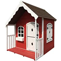 Rovo Kids Wooden Cottage Style Cubby House, Red and White