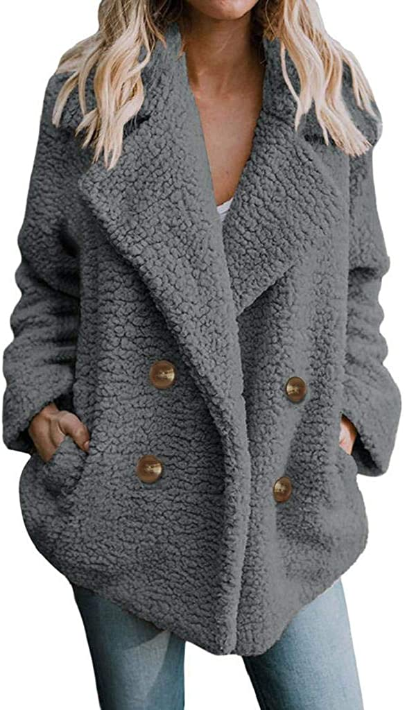SHOBDW Mujer Chaqueta para Mujer de Moda Sólida Chaqueta Casual Otoño Invierno Tops de Manga Larga Parka cálida Outwear Abrigo para Mujer Turn Down Collar Overcoat Ladies Outercoat