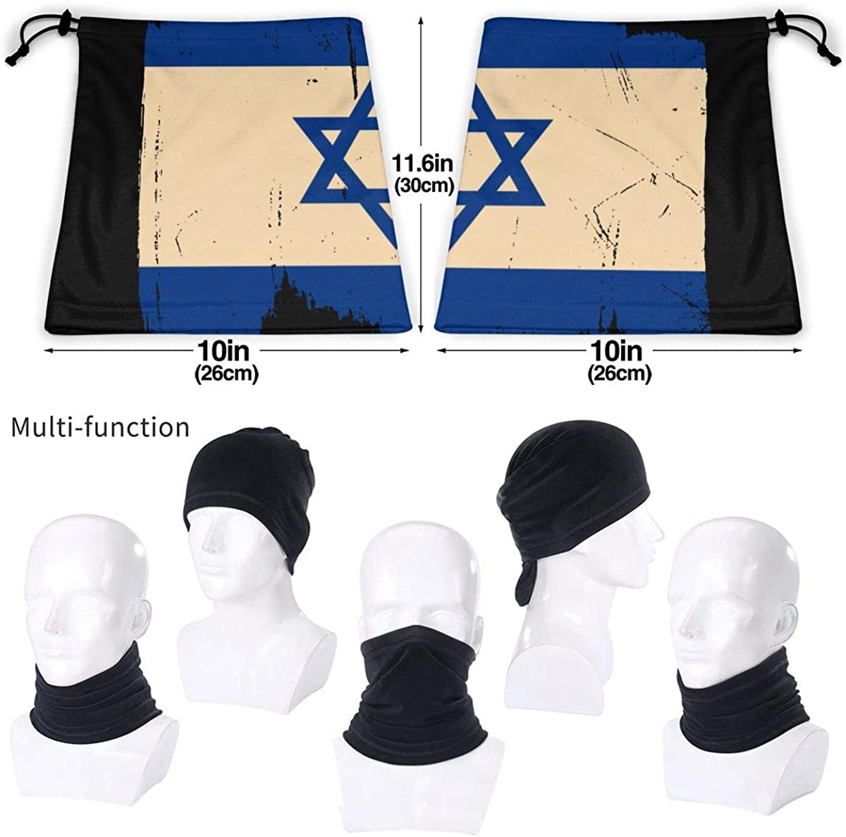 Distressed Israel Flag Men /& Women Face Mask Windproof Neck Gaiter Winter Bandana For Skiing Snowboarding