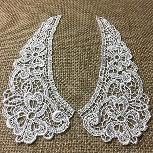 Lace Collar Pair Venise, Judges Lace Collar Pretty Floral Design Embroidered, 7
