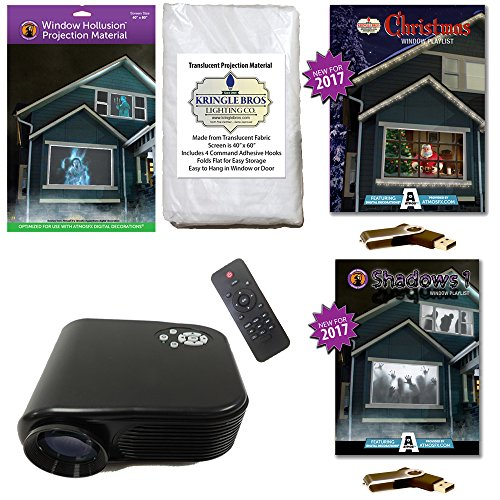 AtmosFearFx Christmas and Halloween Digital Decoration Kit includes 800 x 480 Projector, Hollusion (W) + Kringle Bros Rear Projection Screens, Christmas and Shadows Compilation Videos on USB -