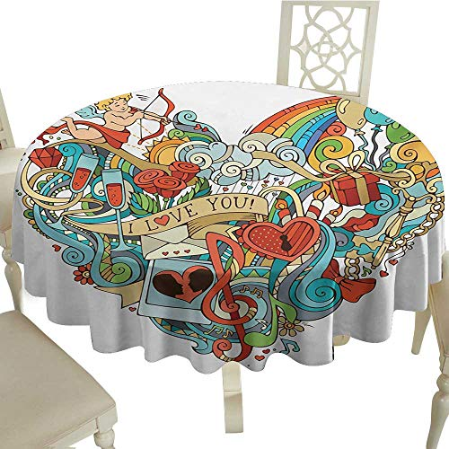 Cranekey Outdoor Round Tablecloth 36 Inch I Love You,Love Valentines with Eros Arrow Present Boxes Swirls Balloons Ring Marry Me,Multicolor Great for,Party & More ()