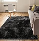 Well Woven Shimmer Shag Black Solid Plain Modern Luster Ultra Thick Soft Plush 3×5 (3'3″ X 5′) Area Rug Contemporary Retro Polyester Textured Two Length 2″ Pile Yarn Easy Clean Stain Fade Resistant Review