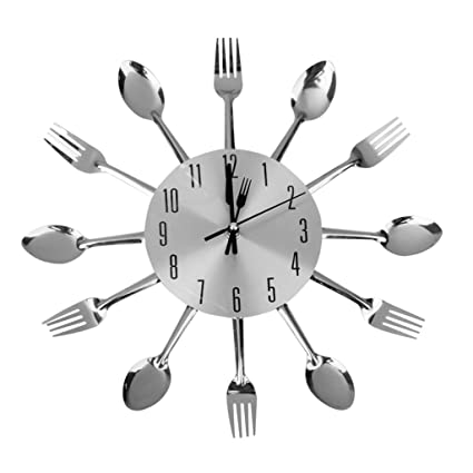Buy Generic Others Cutlery Kitchen Wall Clock Silver Online at Low