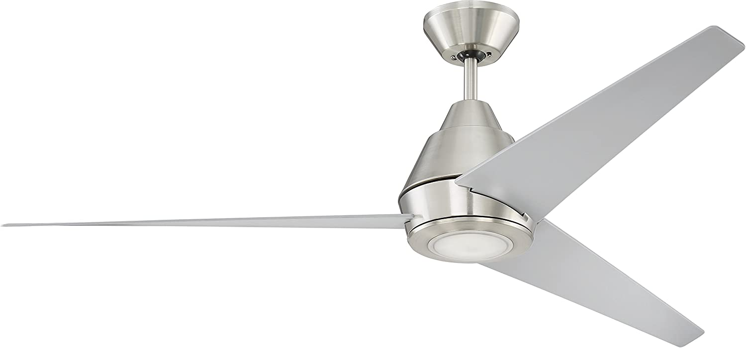 """Craftmade ACA56BNK3-UCI Acadian 56"""" Outdoor Ceiling Fan with LED Light and Remote Control, 3 Blades for Patio, Brushed Polished Nickel 61m6hOHrfELSL1500_"""