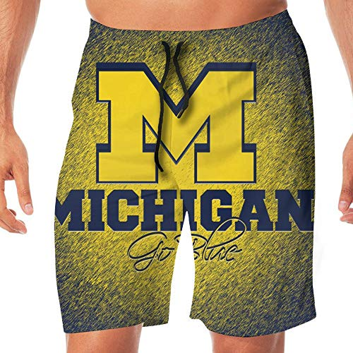 JLDRY1UO Men's Michigan Flag Summer Swim Trunk & Beach Shorts