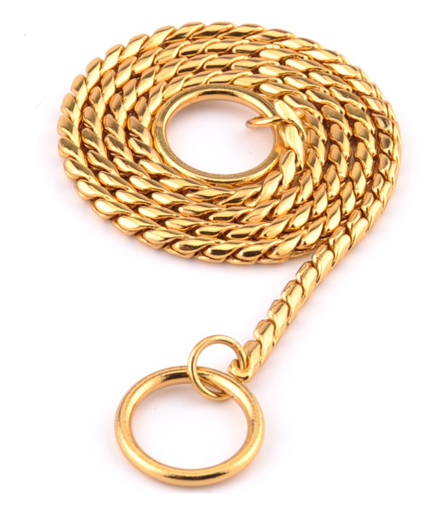gold 5mm24inch gold 5mm24inch Mihqy Dog Training Collars Solid Copper Choke P Snake Chain Collar Heavy Duty Slip& Martingale Collar for Small Medium Large Dogs gold,5mm24inch