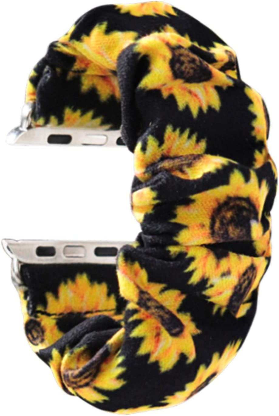 MONOBLANKS Scrunchie Elastic Watch Band Compatible for Apple Watch Band 38mm/40mm 42mm/44mm,Thick Elastic Band Replacement Compatible with for iWatch Series 4/3/2/1 (Sunflower, 38MM/40MM)