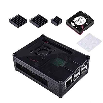 Amazon Com Miuzei Black Raspberry Pi 3 B Case With Fan 3 Pcs Heat