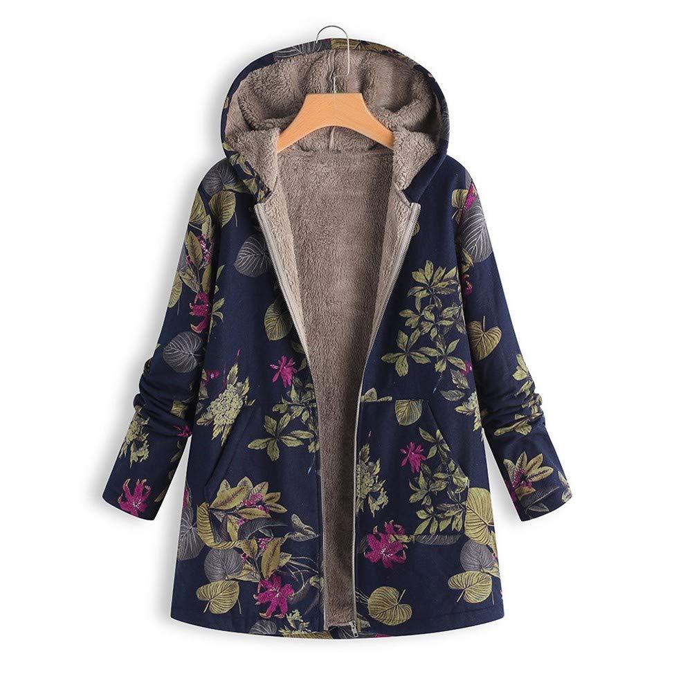 Oversize Coats,Cuekondy Women's Winter Warm Outwear Floral Print Pockets Hooded Overcoat Vintage Jackets Plus Size