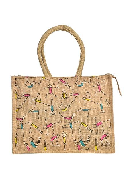 Amazon.com: Natural Yoga Jute Burlap Tote Bags | Reusable ...