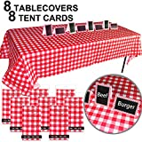 Jalousie 8 Pack 54'' x 108'' Lead-Free Plastic Red and White Checkered Tablecloths and Chalkboard Tent Cards 4'' x 6'' Decoration Picnic Table Covers