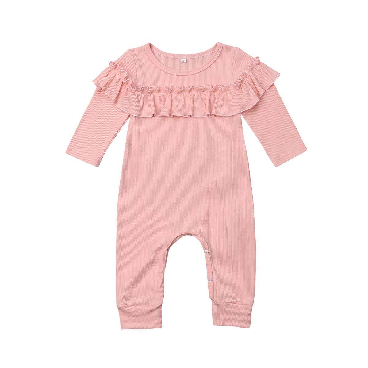 b6d6f590a Amazon.com  Newborn Infant Baby Girl Ruffle Long Sleeve Pink Romper ...