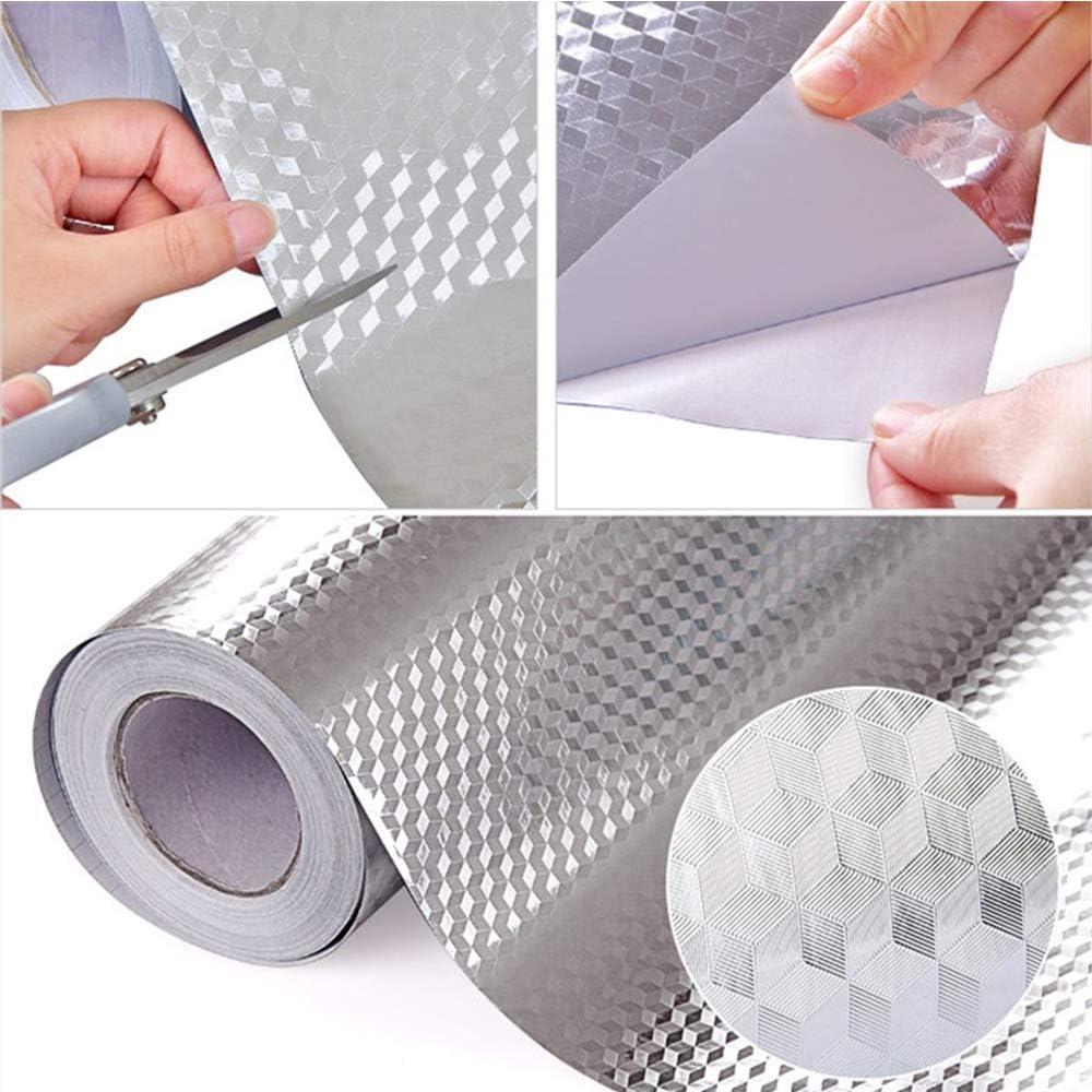 Gurxi Adesivo da Parete Autoadesivo Resistente al Calore in Alluminio Diy Carta da Parati in Alluminio per Piastrelle Impermeabile per Cucine Armadio Tavoli Mobili 1 Pezzo Modello Esagonale Argento