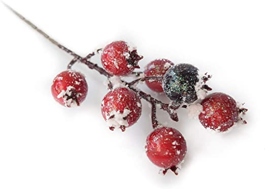 Riverbyland Christmas Picks Burgundy Christmas Berry Spray 20 Pcs