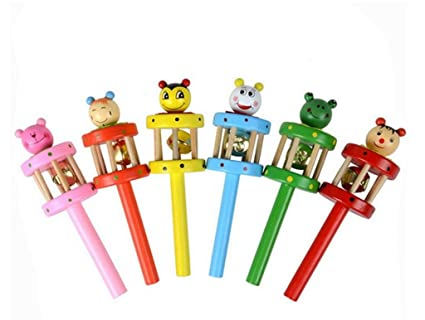 Genonaute colorido dibujos animados de madera mancuerna instrumento musical puzzle juguete
