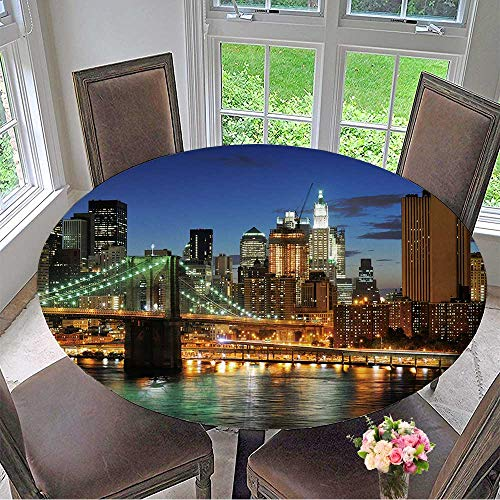 Mikihome The Round Table Cloth New York City Brooklyn Bridge Downtown at Night for Birthday Party, Graduation Party 67