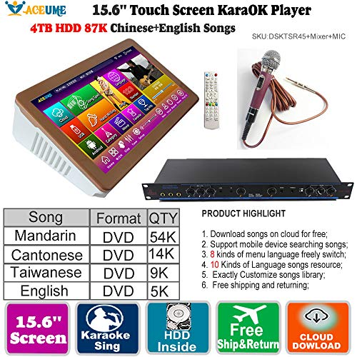 (4TB HDD 87K Touch screen karaoke player, Chinese English Songs Machine+Individual Karaoke Mixer+Wired Microphone1,Cloud Download, Free Microphone Included 觸摸屏,點歌機,云下載)