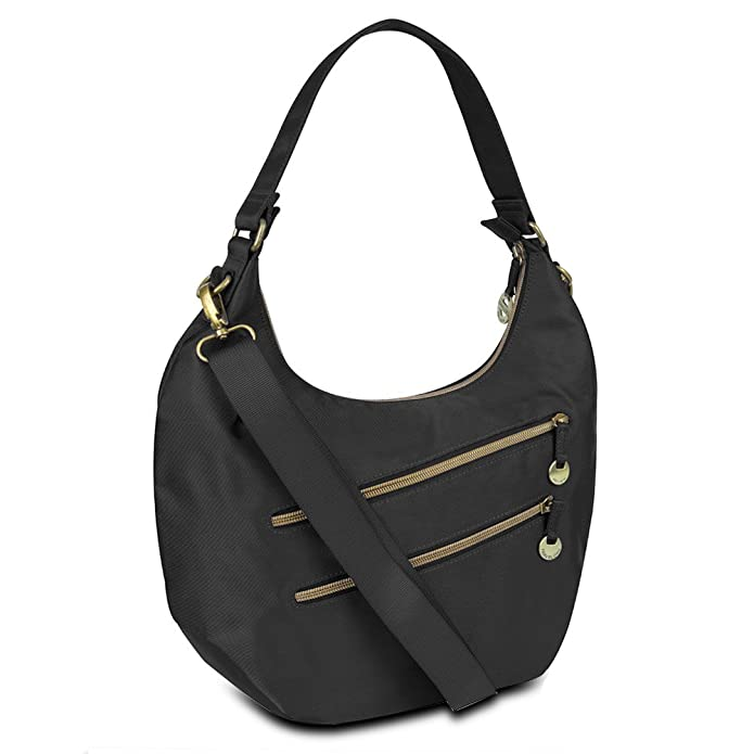 Travelon Convertible Hobo with RFID Protection - Black: Handbags ...