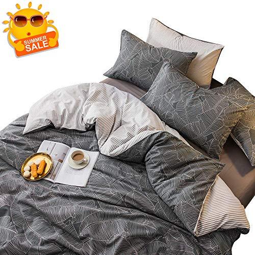 - BuLuTu Tropical Cotton Duvet Cover Queen Grey,Super Soft Bedding Sets Full Gray,3 Pieces Geometrical Kids Duvet Cover Set with Zipper Closure for Teen Boys Men,No Comforter